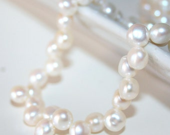 Freshwater Pearl Cream White Button Shape Side Drilled 6-7mm 16 inches Strand