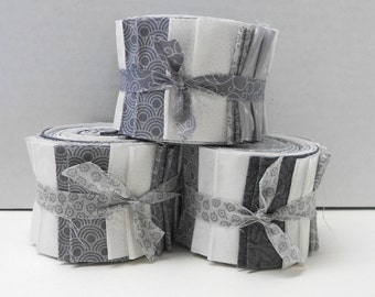 Gray and White Quilt Fabric Strips - Quilt Strips Jelly Roll - SEW FUN QUILTS