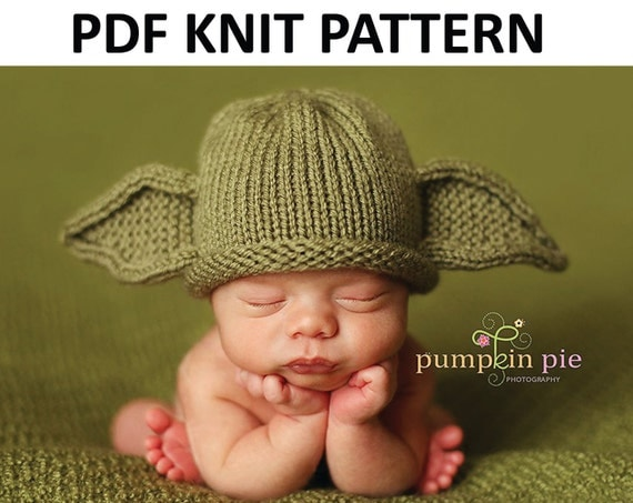 Knitting Pattern For Baby Yoda Hat : Yoda Hat Pattern Knit by PinkToad on Etsy