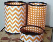 Orange Chevron and Polka Dot Desk Accessories - Pencil Cup - Desk Organization - Office Decor - 489