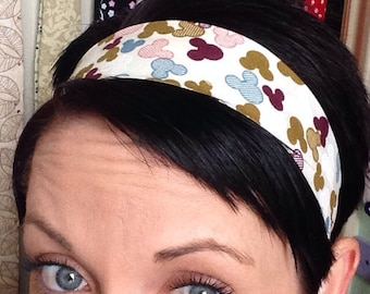 Off-white Ivory Cream Stay Put Headband w/ Maroon, White, Brown, Pink, and Blue Mickey Mouse