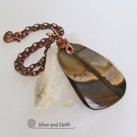 sale petrified wood necklace earthy by silverandearth