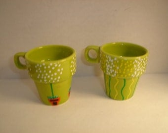 Ceramic Mini Cups with Handle/Set of 2/Hand Painted Design*