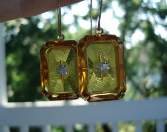 1920's Art Deco Vintage Etched Faceted Czech Topaz Crystal Glass Gold Earrings
