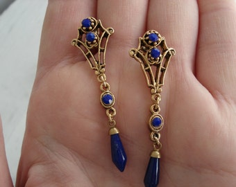 Vintage Victorian Lapis Lazuli Glass Rhinestone and Faceted Prisms Filigree Gold Earrings