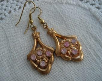 Vintage 1950's Art Nouveau Edwardian Pink Givre Rhinestone Gold Earrings