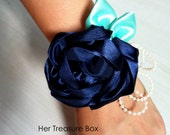 Wrist Corsage - Navy Blue Vintage Rose with pearls and white grosgrain strap