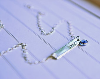 Name Necklace, Personalized Jewelry, Bar Necklace, Australian Hand Stamped Necklace, Personalized Bar, Horizontal Bar