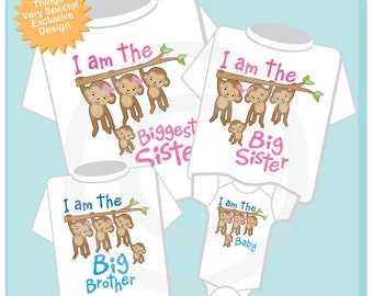 Set of Four Sibling Monkey Shirt and Onesie Set, I am the Biggest Sister Shirt, Big Sister, Big Brother and Baby Brother (10022013b)