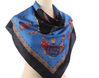 Novelty Print Scarf . Fabergé Artworks Printed .  Royal Print eck Scarf . Blue and Gold Shawl .