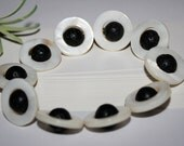 Black Lava Rock Stretch Bracelet Natural Shell Bead Frames Elastic Cord Cream White Porous Stones Beads