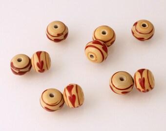 Handmade Lampwork Beads - rondelle - lot of 10 - LMP029