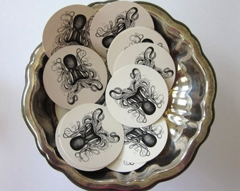 Octopus Round Paper Gift Tags Set of 10