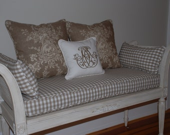 """12"""" Pillow Cover w/ Piping and Zipper,Your Own Fabric, Made to Order. ."""