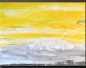First Light - 30 x 40 - Abstract Acrylic Painting - Huge Contemporary Wall Art - Original Yellow Gray Grey