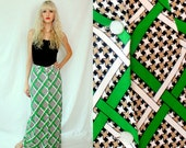 Preppy Green Houndstooth Lattice Maxi Skirt - Brown Black White - 1970s Vintage - Small