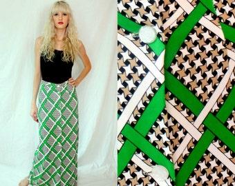 Preppy Green Houndstooth Lattice Maxi Skirt - Brown Black White - 1970s Vintage - Small