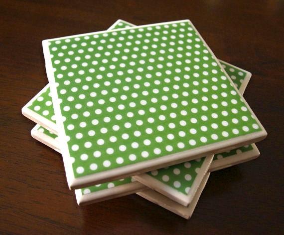 Green Tile Coasters - Kelly Green Polka Dots