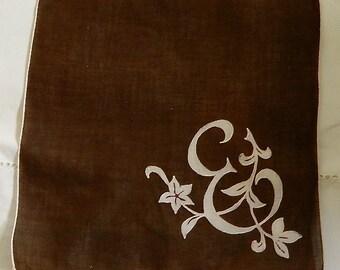 "Vintage Hankie/Hanky Chocolate Rusty Brown and White, Big E, and Vines,""Big E"""