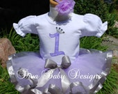 Baby girl 1st birthday tutu outfit   -Lavender Princess lavender and silver ribbon tutu set