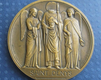 Antique French Saint Denys With Angels Religious Art Medal Signed R Cochet 1935