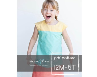 Colorblock dress pattern and tutorial 12M-5T EASY SEW fully lined jumper tunic
