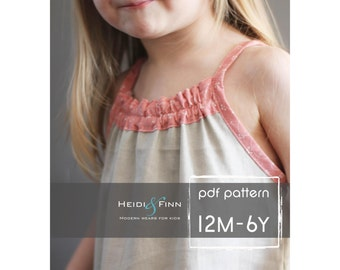 Smock Top Dress pattern and tutorial PDF 12m-6t easy sew summer dress tunic