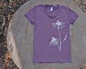 Echinacea Flowers T-Shirt  American Apparel Heather Plum Scoop Neck Tee