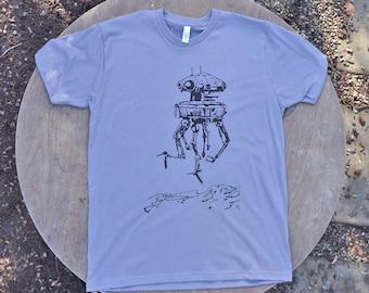 Star Wars Imperial Probe Droid T-Shirt  Mens American Apparel Tee in Slate Grey