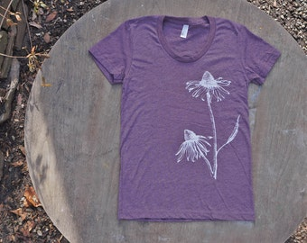 Echinacea Flowers T-Shirt  American Apparel Heather Plum Scoop Neck Tee