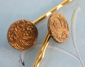 Antique Victorian Button Hair Bobbies-Branches and Flowers