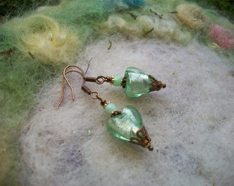 Earrings for Valentines Day, Hearts, Fresh Mint