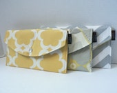 Set Of 3 Bridesmaid Clutches - Yellow and Grey Collection - Tarika Optic and Chevron