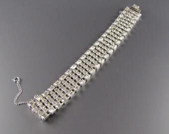 1960's RHINESTONE BAND BRACELET  Wedding Bridal Jewelry