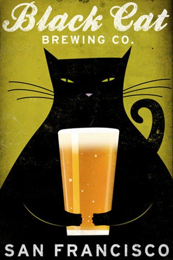 FREE CUSTOMIZATION Black Cat Brewing Company Black Cat Graphic Art Illustration print SIGNED