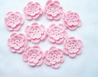 Appliques hand crocheted flowers motif  set of 10 light pink cotton 1.5 inch
