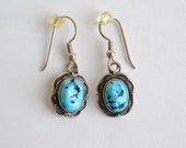 Old Pawn Navaho Vintage turquoise & sterling silver earrings