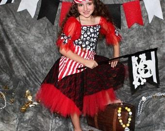 Custom Boutique Red Pirate costume 4t