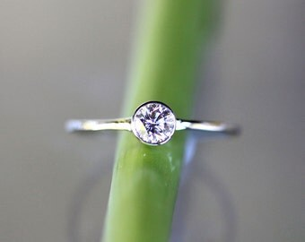 Diamond 14K White Gold Engagement Ring, Stacking RIng, Gemstone Ring - Made To Order