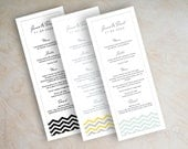 Chevron menu cards, printable menu card, mint green wedding reception menu, Chevron