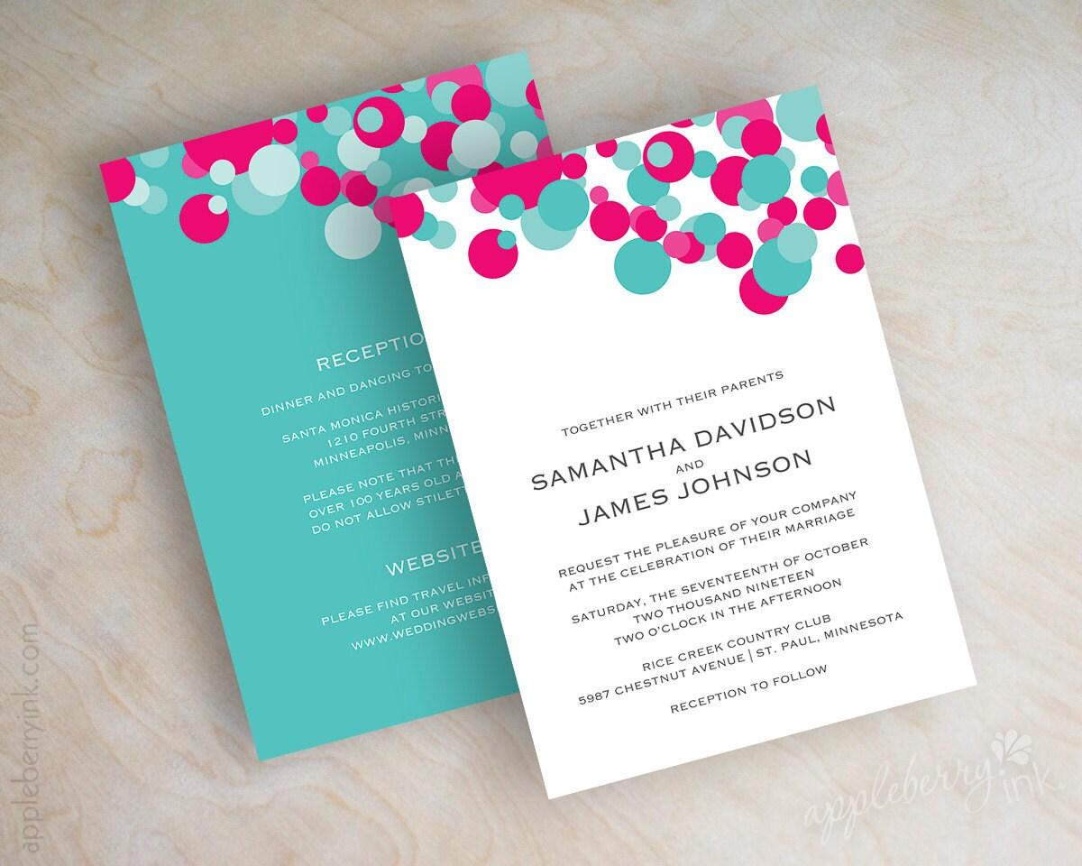 Wedding Invitations Turquoise: Fuchsia And Turquoise Polka Dot Wedding Invitations Aqua
