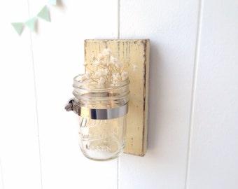 shabby chic Buttermilk sconce Cottage Decor vase wood single vase