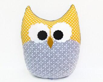 Large Decorative Owl Pillow Plush Yellow Gray White Nursery Decor