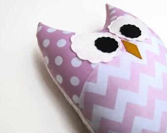 Soft Pink Chevron Owl Pillow Light Pink Baby Pink Nursery Decor