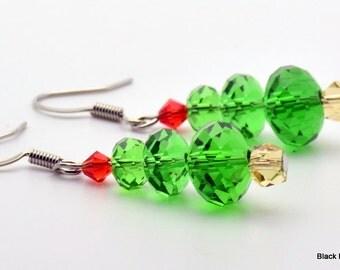 Christmas Tree Holiday Glass Earrings - EA00362