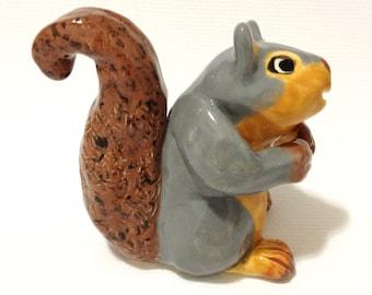 Squirrel Figurine, Hand-Built Squirrel Sculpture, Squirrel Art