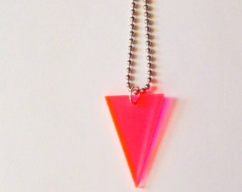 Geometric Neon Pink Triangle Necklace, 80s Inspired Jewelry, Fluorescent Acrylic, Neon Geometric Necklace