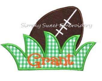 Football Grass Machine Embroidery Applique Design