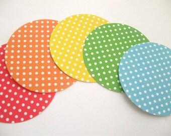 Polka Dot Circle Tags set of 20- Choose your color- Spring/Summer/ Showers/Weddings/Birthdays/Decor