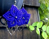 Violets are Blue - French Beaded Flower Earrings